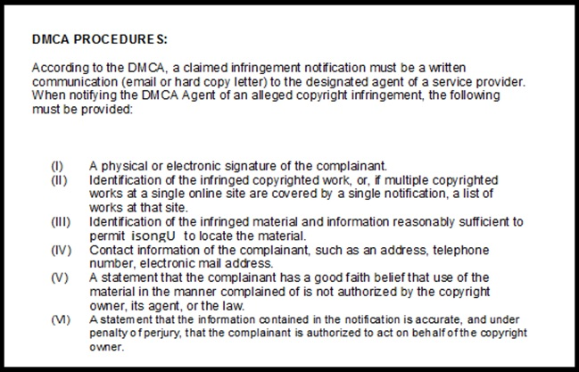 DMCA Procedures